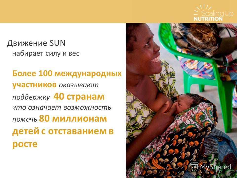 Движение SUN набирает силу и вес Более 100 международных участников оказывают поддержку 40 странам что означает возможность помочь 80 миллионам детей с отставанием в росте
