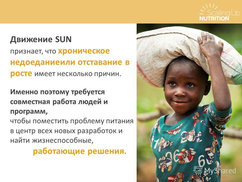 Движение SUN признает, что хроническое недоеданиеили отставание в росте имеет несколько причин. Именно поэтому требуется совместная работа людей и программ, чтобы поместить проблему питания в центр всех новых разработок и найти жизнеспособные, работа