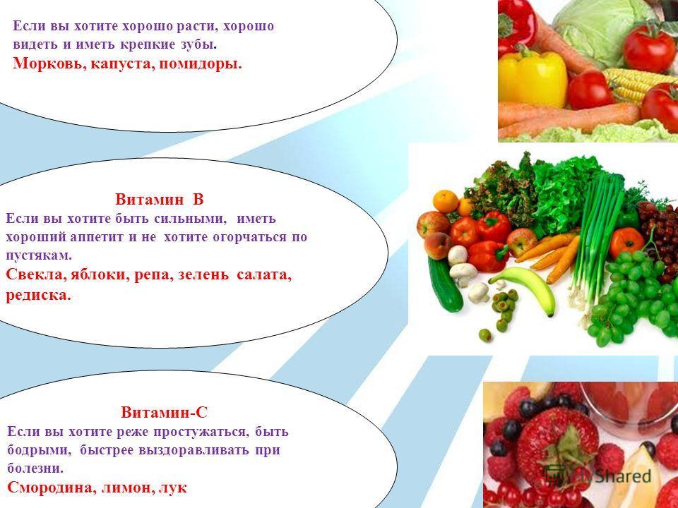 Витамин А Если вы хотите хорошо расти, хорошо видеть и иметь крепкие зубы. Морковь, капуста, помидоры. Витамин В Если вы хотите быть сильными, иметь хороший аппетит и не хотите огорчаться по пустякам. Свекла, яблоки, репа, зелень салата, редиска. Вит