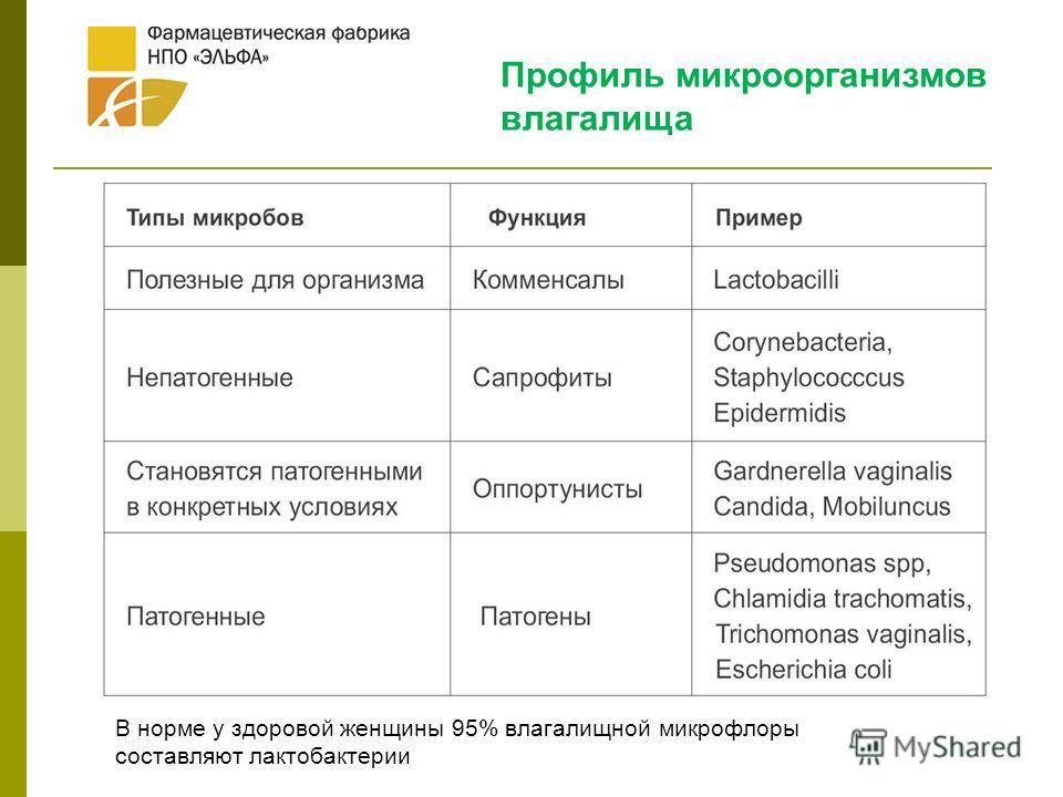 Профиль микроорганизмов влагалища В норме у здоровой женщины 95% влагалищной микрофлоры составляют лактобактерии
