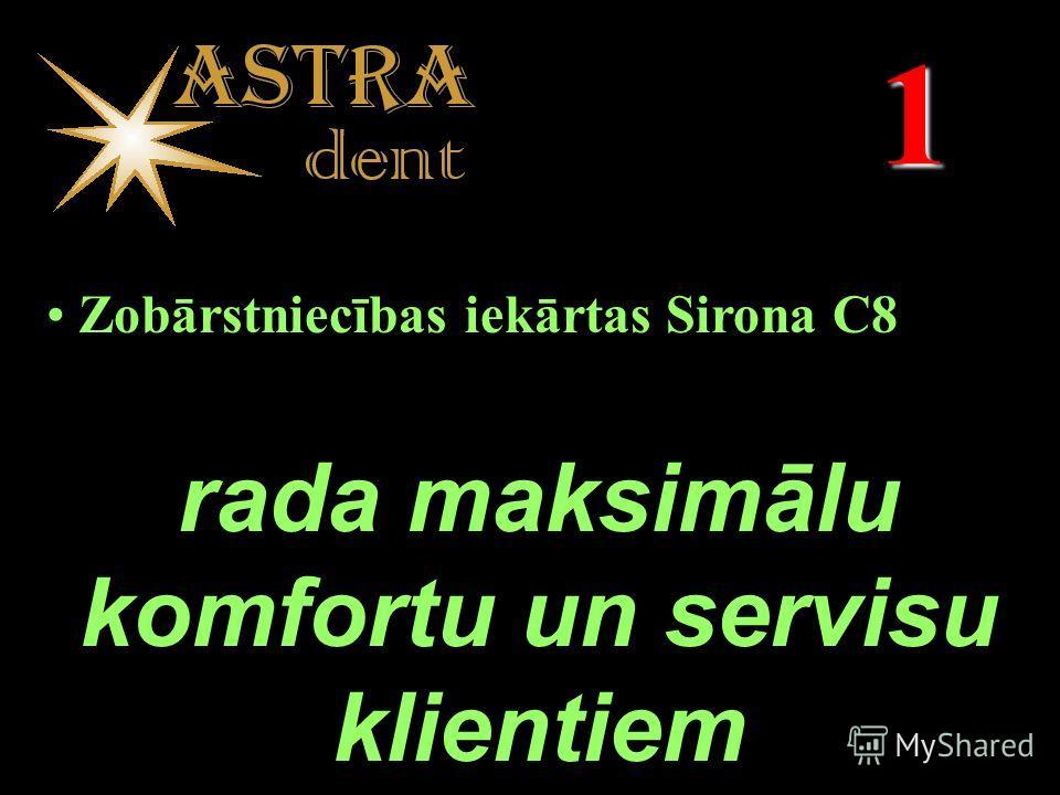 1 Zobārstniecības iekārtas Sirona C8 rada maksimālu komfortu un servisu klientiem