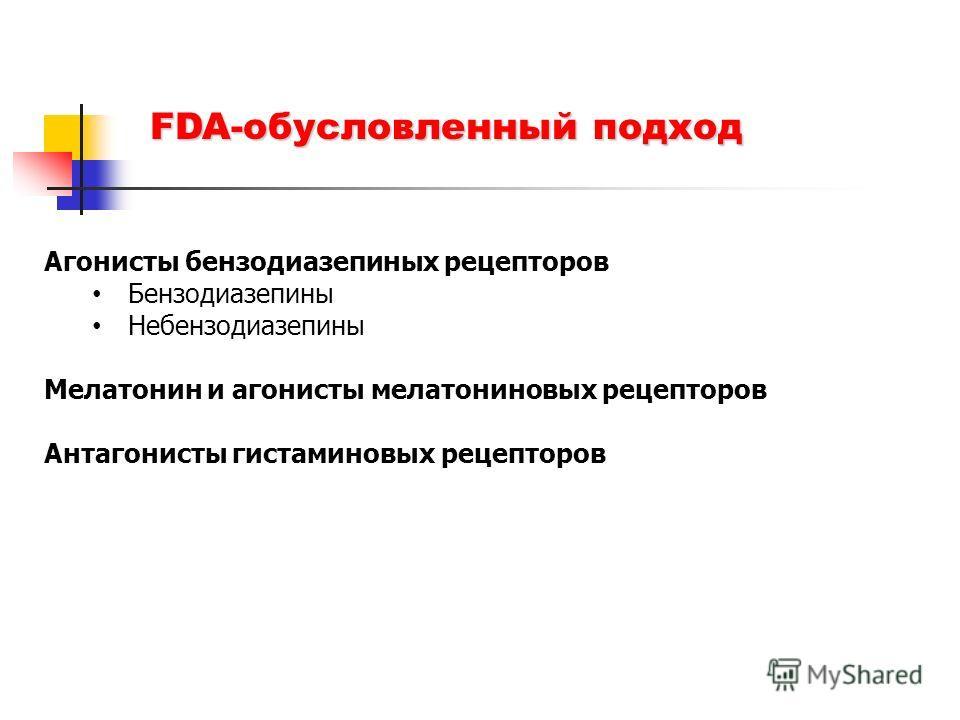 FDA-обусловленный подход Агонисты бензодиазепиных рецепторов Бензодиазепины Небензодиазепины Мелатонин и агонисты мелатониновых рецепторов Антагонисты гистаминовых рецепторов