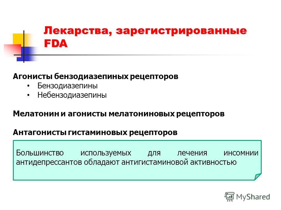 Лекарства, зарегистрированные FDA Агонисты бензодиазепиных рецепторов Бензодиазепины Небензодиазепины Мелатонин и агонисты мелатониновых рецепторов Антагонисты гистаминовых рецепторов Большинство используемых для лечения инсомнии антидепрессантов обл