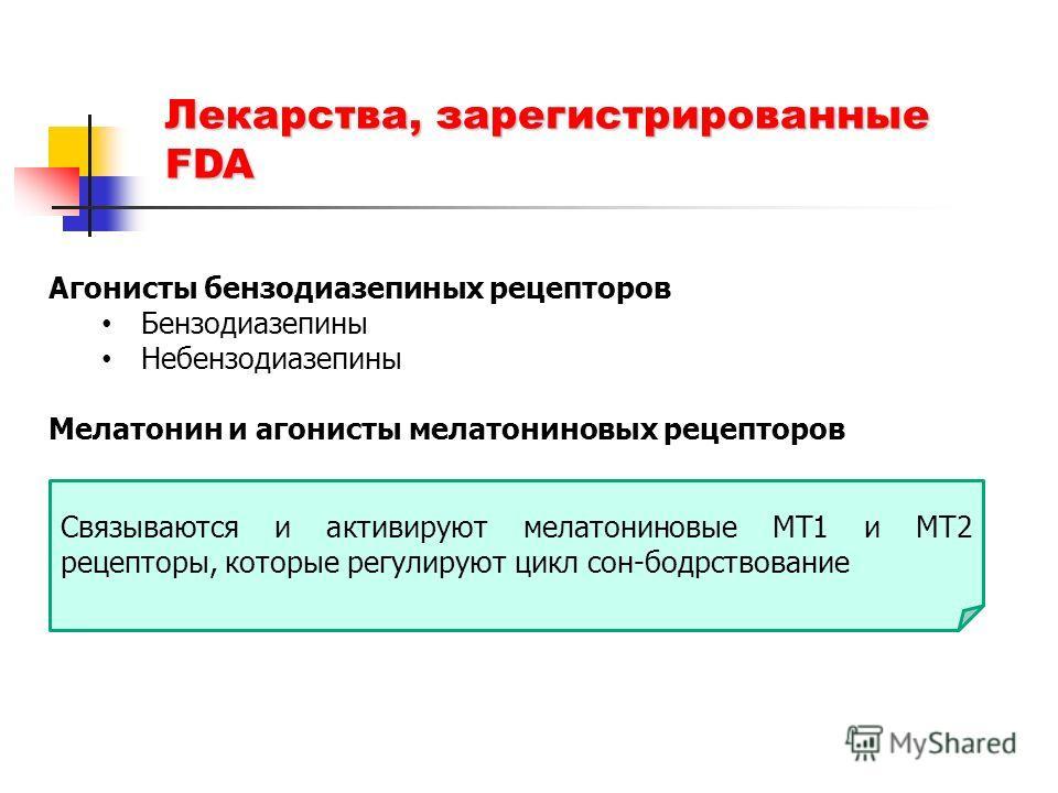 Лекарства, зарегистрированные FDA Агонисты бензодиазепиных рецепторов Бензодиазепины Небензодиазепины Мелатонин и агонисты мелатониновых рецепторов Агонисты гистаминовых рецепторов Связываются и активируют мелатониновые МТ1 и МТ2 рецепторы, которые р