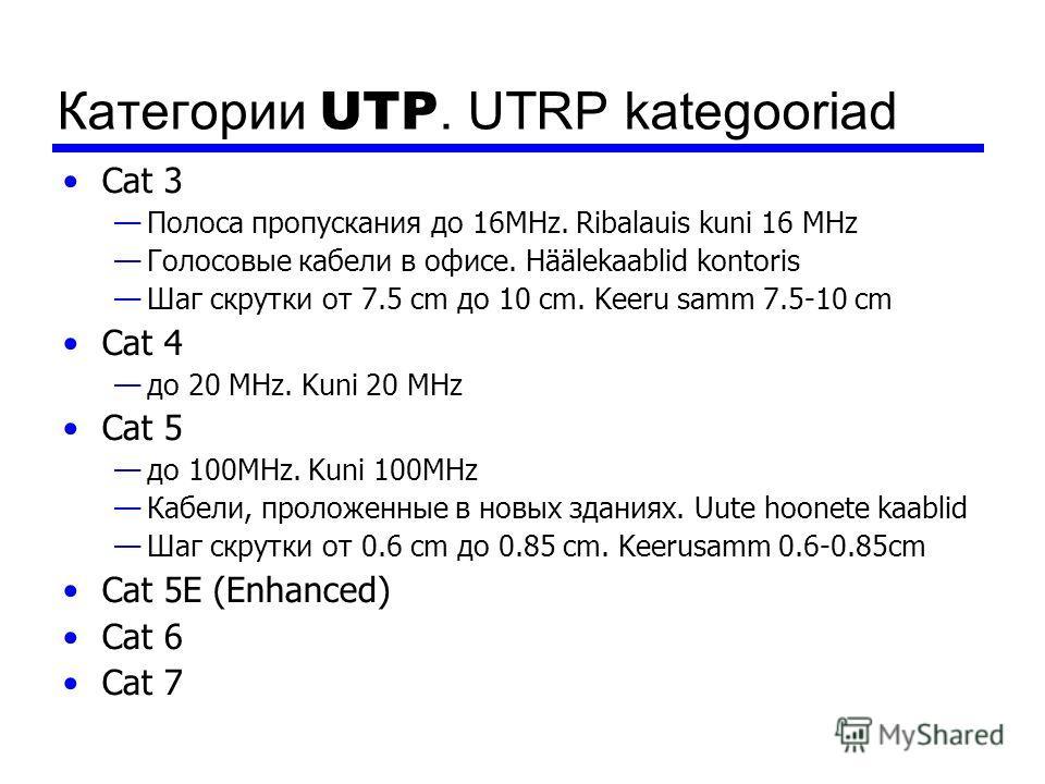 Категории UTP. UTRP kategooriad Cat 3 Полоса пропускания до 16MHz. Ribalauis kuni 16 MHz Голосовые кабели в офисе. Häälekaablid kontoris Шаг скрутки от 7.5 cm до 10 cm. Keeru samm 7.5-10 cm Cat 4 до 20 MHz. Kuni 20 MHz Cat 5 до 100MHz. Kuni 100MHz Ка