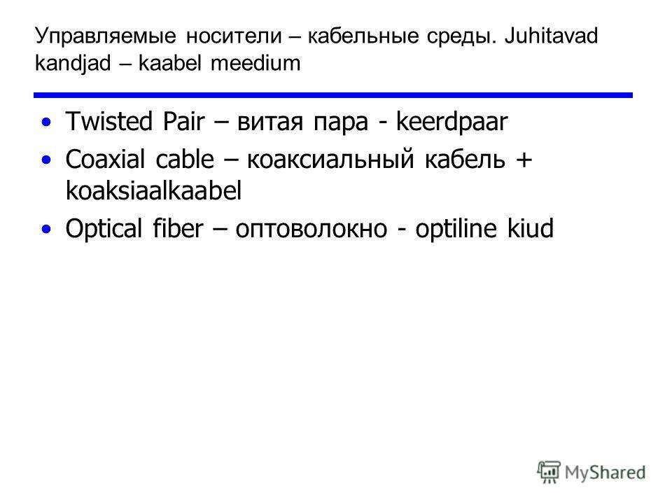 Управляемые носители – кабельные среды. Juhitavad kandjad – kaabel meedium Twisted Pair – витая пара - keerdpaar Coaxial cable – коаксиальный кабель + koaksiaalkaabel Optical fiber – оптоволокно - optiline kiud
