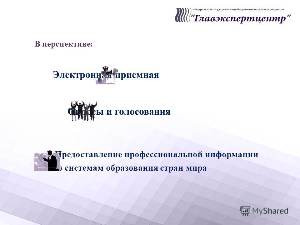 В перспективе : Электронная приемная Опросы и голосования Предоставление профессиональной информации по системам образования стран мира