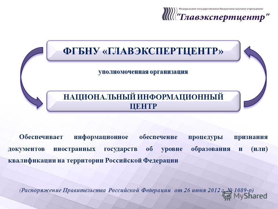 уполномоченная организация Обеспечивает информационное обеспечение процедуры признания документов иностранных государств об уровне образования и (или) квалификации на территории Российской Федерации (Распоряжение Правительства Российской Федерации от