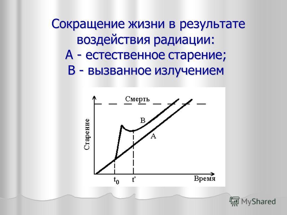 Сокращение жизни в результате воздействия радиации: А - естественное старение; В - вызванное излучением Сокращение жизни в результате воздействия радиации: А - естественное старение; В - вызванное излучением