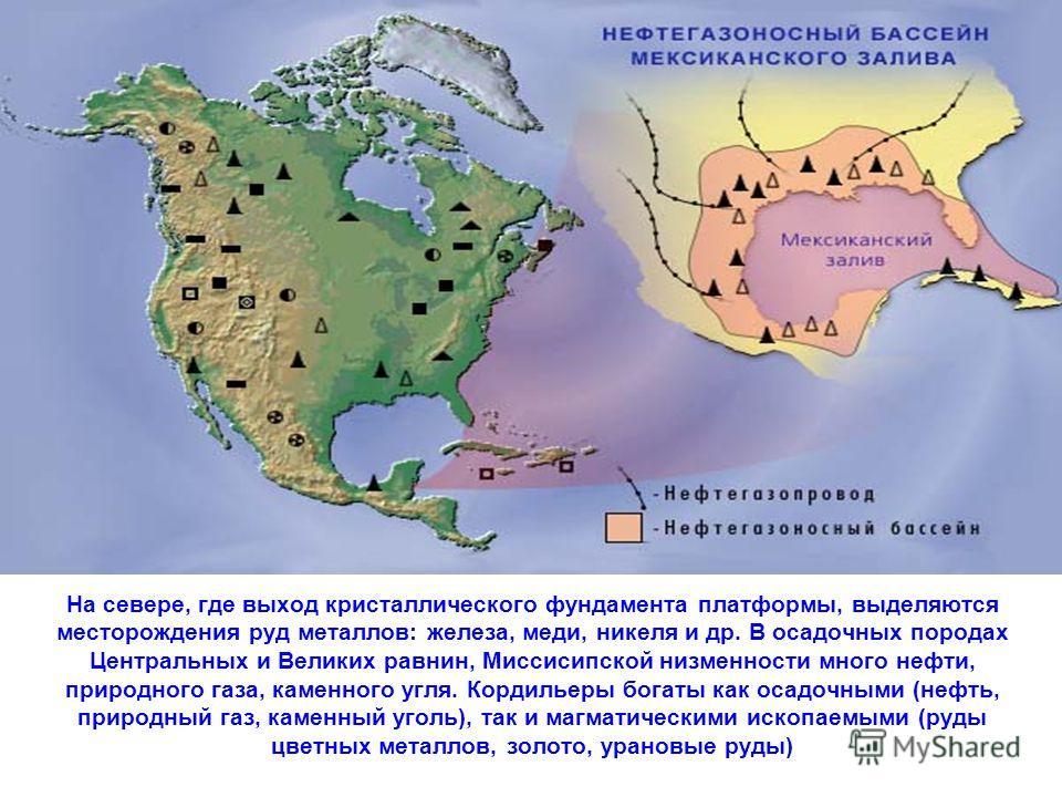 На севере, где выход кристаллического фундамента платформы, выделяются месторождения руд металлов: железа, меди, никеля и др. В осадочных породах Центральных и Великих равнин, Миссисипской низменности много нефти, природного газа, каменного угля. Кор