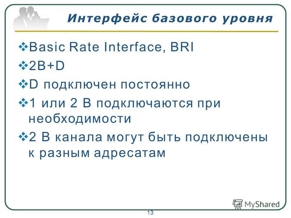 Интерфейс базового уровня Basic Rate Interface, BRI 2B+D D подключен постоянно 1 или 2 B подключаются при необходимости 2 B канала могут быть подключены к разным адресатам 13