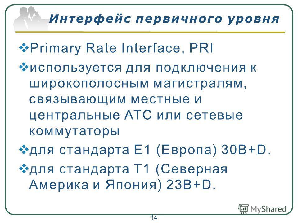 Интерфейс первичного уровня Primary Rate Interface, PRI используется для подключения к широкополосным магистралям, связывающим местные и центральные АТС или сетевые коммутаторы для стандарта E1 (Европа) 30B+D. для стандарта Т1 (Северная Америка и Япо
