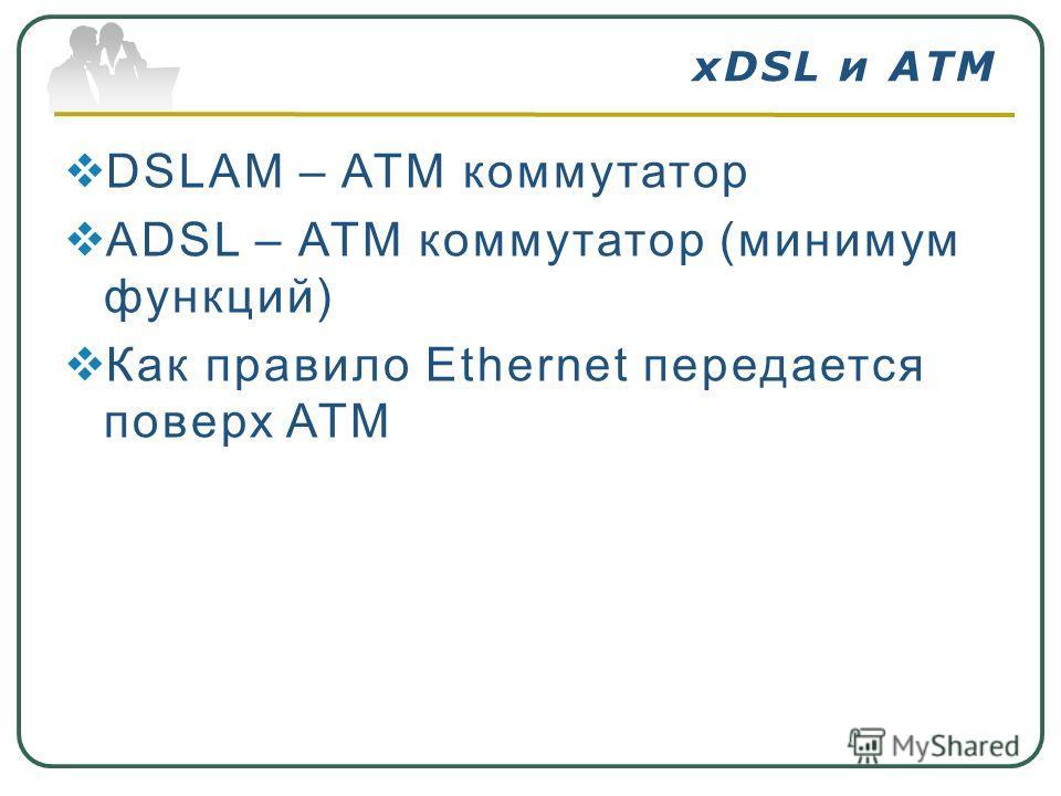 DSLAM – ATM коммутатор ADSL – ATM коммутатор (минимум функций) Как правило Ethernet передается поверх ATM xDSL и ATM