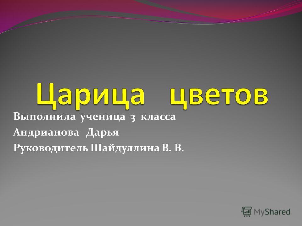 Выполнила ученица 3 класса Андрианова Дарья Руководитель Шайдуллина В. В.