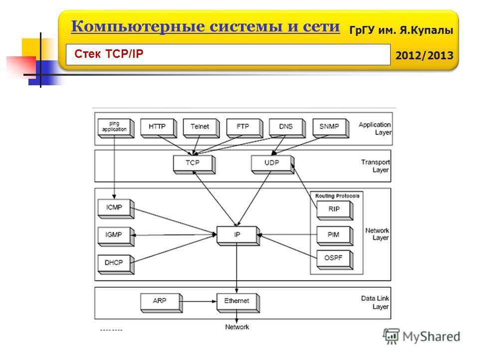 ГрГУ им. Я.Купалы 2012/2013 Компьютерные системы и сети Стек TCP/IP