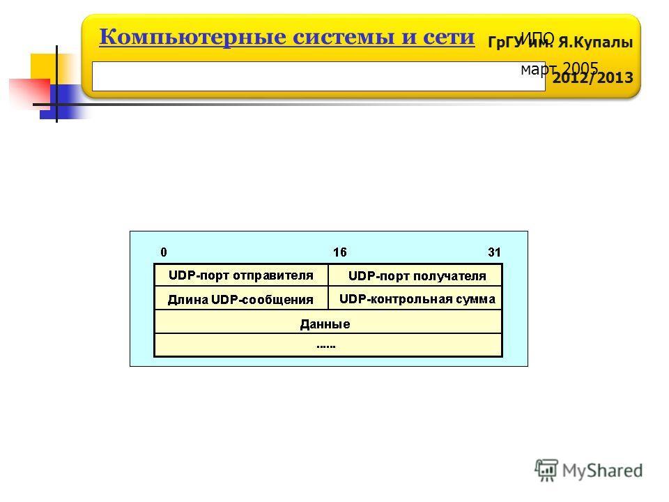 ГрГУ им. Я.Купалы 2012/2013 Компьютерные системы и сети ИПО март 2005