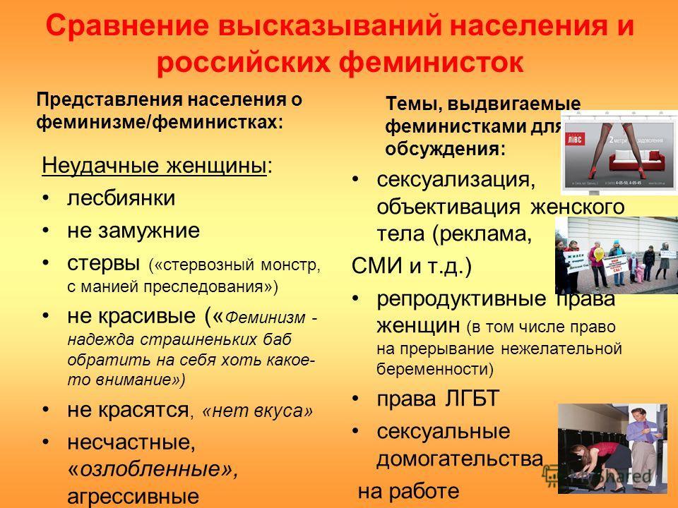 Сравнение высказываний населения и российских феминисток Представления населения о феминизме/феминистках: Неудачные женщины: лесбиянки не замужние стервы («стервозный монстр, с манией преследования») не красивые (« Феминизм - надежда страшненьких баб