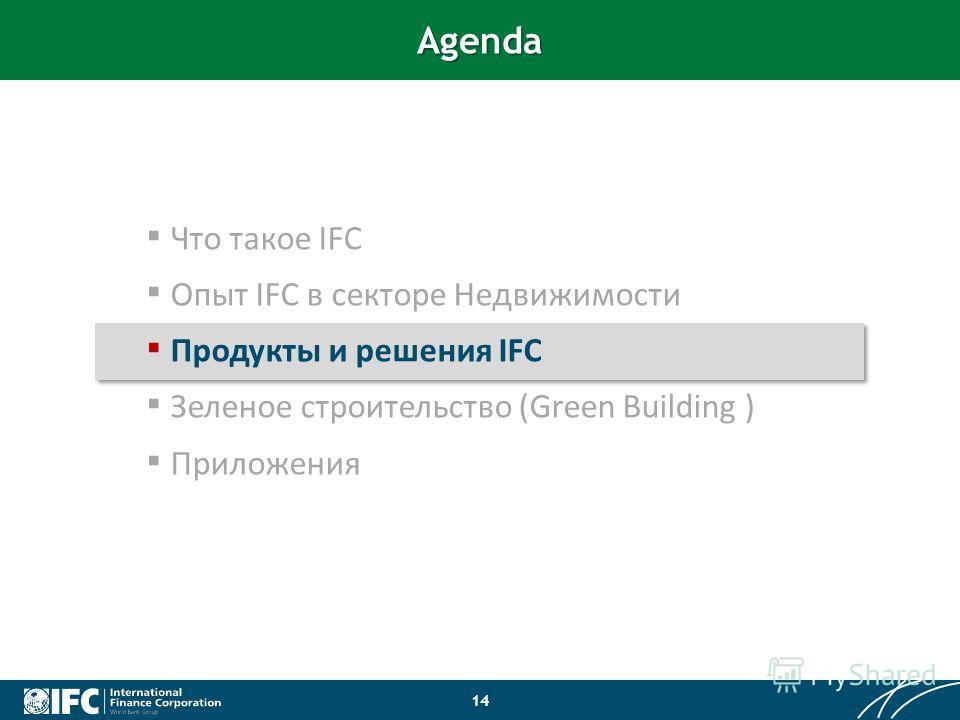 Что такое IFC Опыт IFC в секторе Недвижимости Продукты и решения IFC Зеленое строительство (Green Building ) Приложения Agenda 14