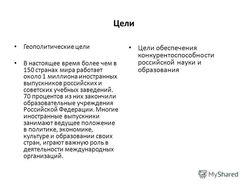 Цели Геополитические цели В настоящее время более чем в 150 странах мира работает около 1 миллиона иностранных выпускников российских и советских учебных заведений. 70 процентов из них закончили образовательные учреждения Российской Федерации. Многие