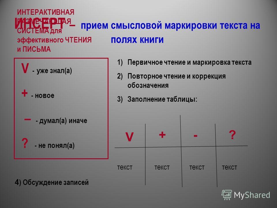 ИНСЕРТ – прием смысловой маркировки текста на полях книги V - уже знал(а) + - новое – - думал(а) иначе ? - не понял(а) 1)Первичное чтение и маркировка текста 2)Повторное чтение и коррекция обозначения 3)Заполнение таблицы: V +-? текст ИНТЕРАКТИВНАЯ Р