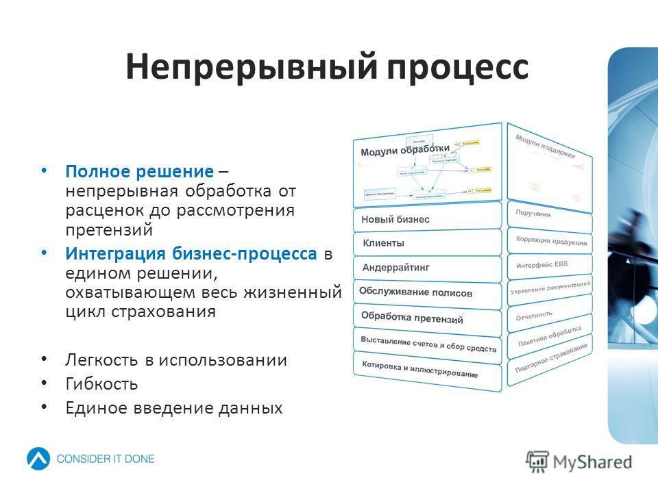 Непрерывный процесс Полное решение – непрерывная обработка от расценок до рассмотрения претензий Интеграция бизнес-процесса в едином решении, охватывающем весь жизненный цикл страхования Легкость в использовании Гибкость Единое введение данных