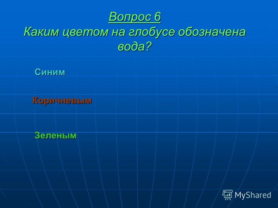 Вопрос 6 Каким цветом на глобусе обозначена вода? Коричневым Зеленым Синим