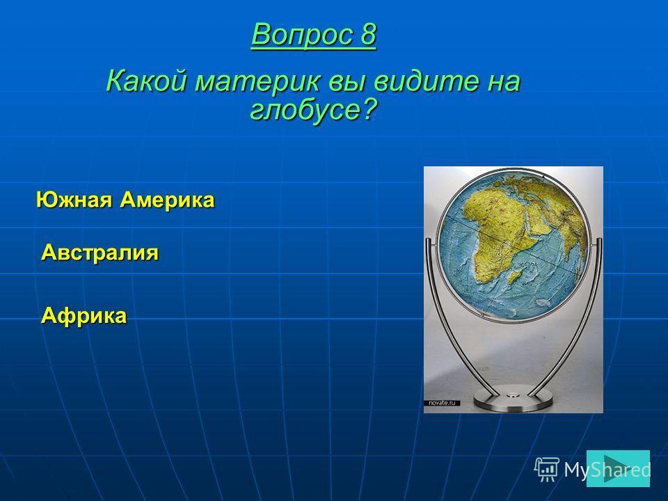 Вопрос 8 Какой материк вы видите на глобусе? Австралия Африка Южная Америка
