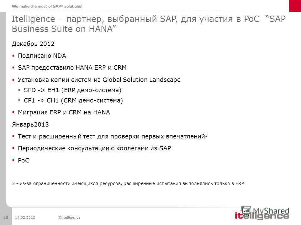 Itelligence – партнер, выбранный SAP, для участия в PoC SAP Business Suite on HANA Декабрь 2012 Подписано NDA SAP предоставило HANA ERP и CRM Установка копии систем из Global Solution Landscape SFD -> EH1 (ERP демо-система) CP1 -> CH1 (CRM демо-систе