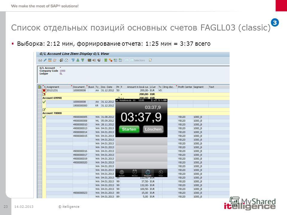 Список отдельных позиций основных счетов FAGLL03 (classic) Выборка: 2:12 мин, формирование отчета: 1:25 мин = 3:37 всего 14.02.201323© itelligence 3