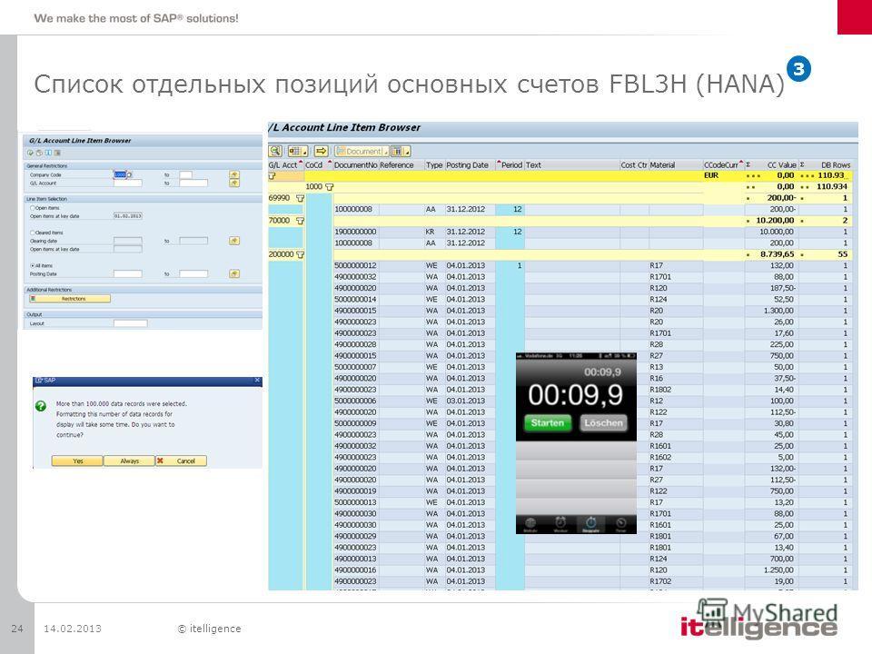 Список отдельных позиций основных счетов FBL3H (HANA) 14.02.201324© itelligence 3
