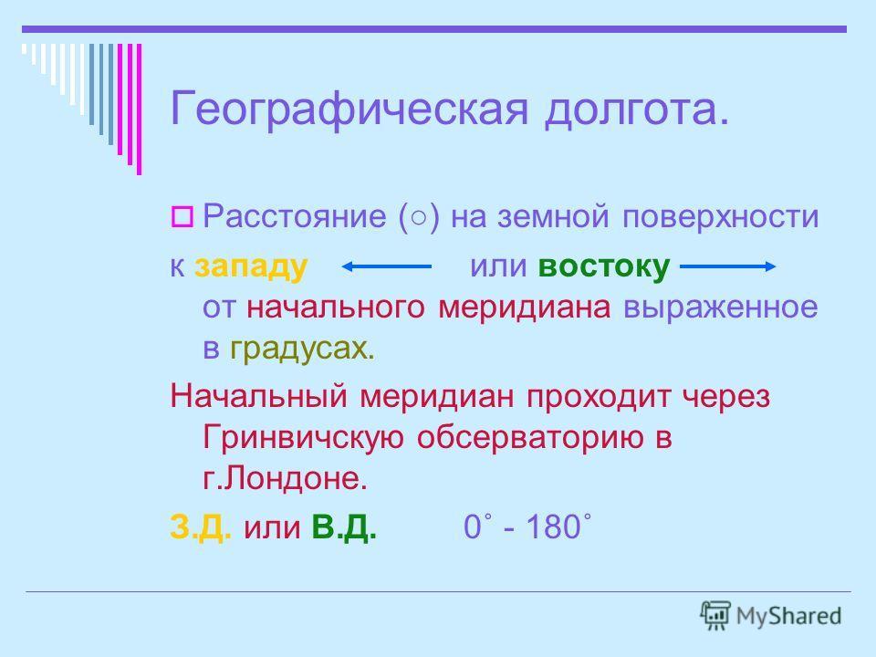 Географическая долгота. Расстояние () на земной поверхности к западу или востоку от начального меридиана выраженное в градусах. Начальный меридиан проходит через Гринвичскую обсерваторию в г.Лондоне. З.Д. или В.Д. 0˚ - 180˚
