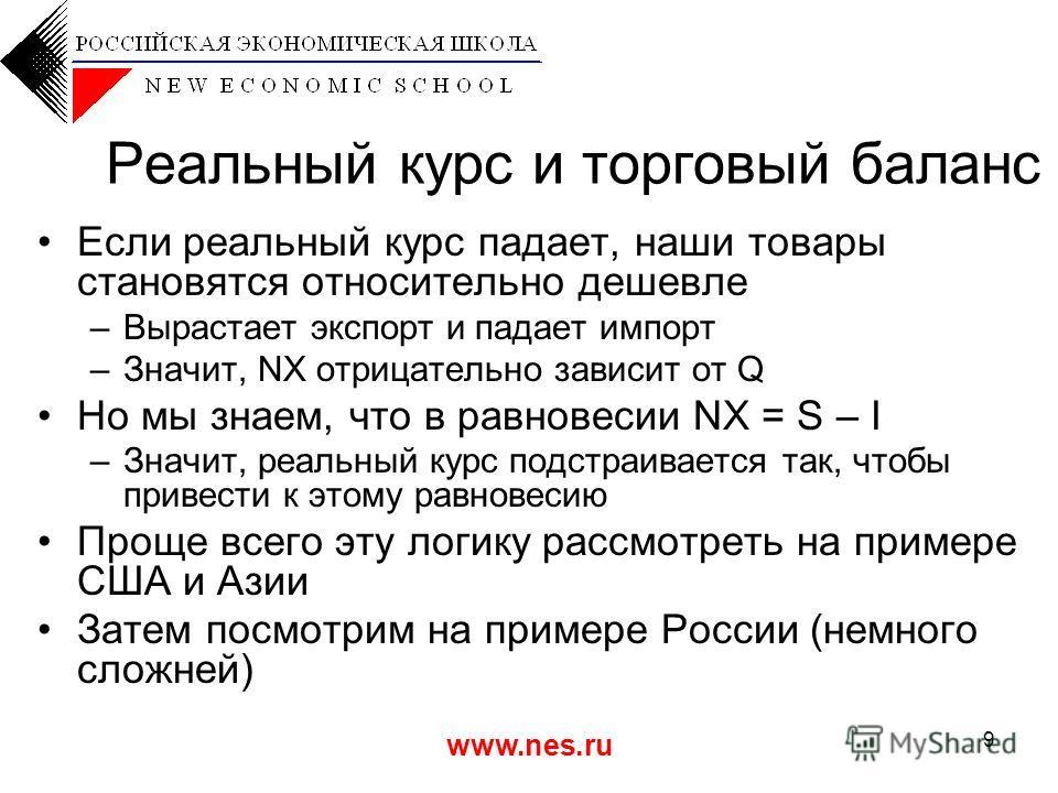 www.nes.ru 9 Реальный курс и торговый баланс Если реальный курс падает, наши товары становятся относительно дешевле –Вырастает экспорт и падает импорт –Значит, NX отрицательно зависит от Q Но мы знаем, что в равновесии NX = S – I –Значит, реальный ку