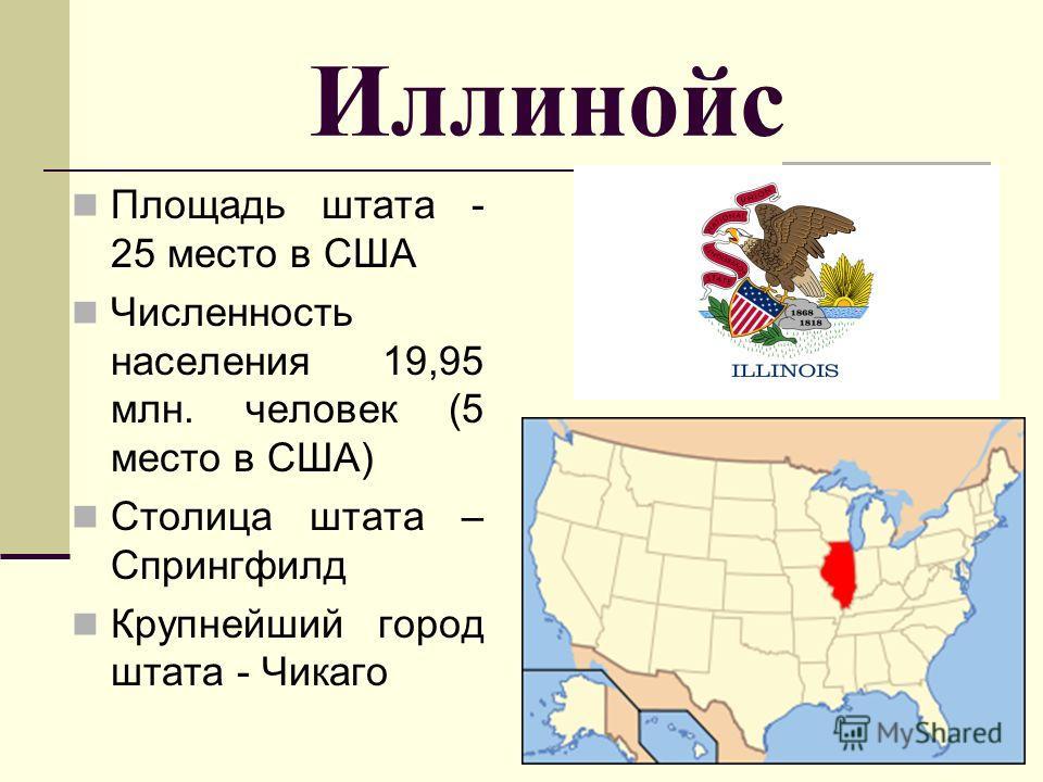 Иллинойс Площадь штата - 25 место в США Численность населения 19,95 млн. человек (5 место в США) Столица штата – Спрингфилд Крупнейший город штата - Чикаго
