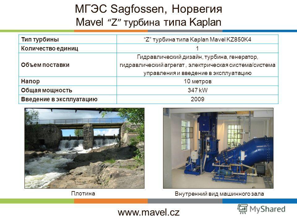 www.mavel.cz МГЭС Sagfossen, Норвегия Mavel Z турбина типа Kaplan Тип турбиныZ турбина типа Kaplan Mavel KZ850K4 Количество единиц1 Объем поставки Гидравлический дизайн, турбина, генератор, гидравлический агрегат, электрическая система/система управл