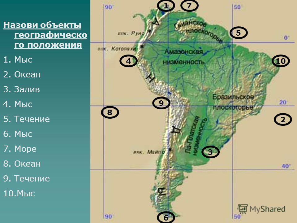 Назови объекты географическо го положения 1.Мыс 2.Океан 3.Залив 4.Мыс 5.Течение 6.Мыс 7.Море 8.Океан 9.Течение 10.Мыс 1 410 6 3 7 8 2 9 5