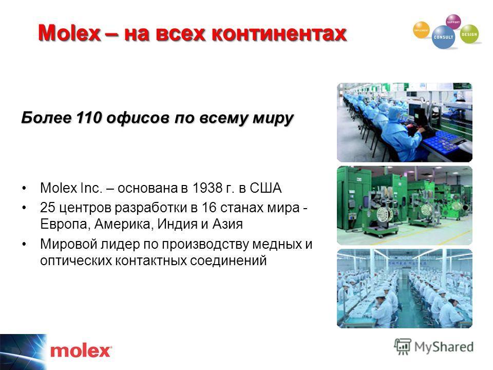 Molex – на всех континентах Molex Inc. – основана в 1938 г. в США 25 центров разработки в 16 станах мира - Европа, Америка, Индия и Азия Мировой лидер по производству медных и оптических контактных соединений Более 110 офисов по всему миру
