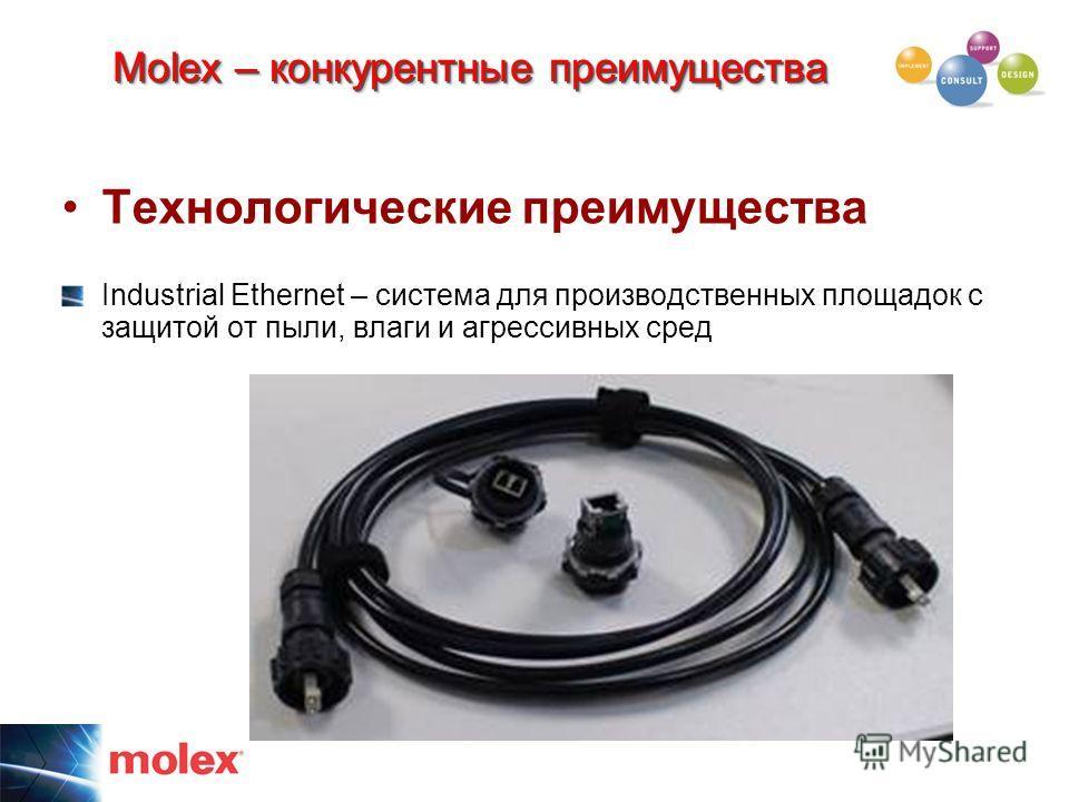 Технологические преимущества Industrial Ethernet – система для производственных площадок с защитой от пыли, влаги и агрессивных сред Molex – конкурентные преимущества