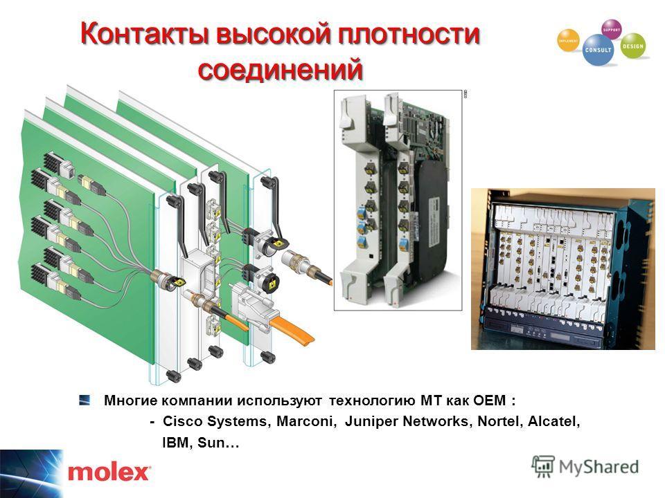 Контакты высокой плотности соединений высокая плотность монтажа Многие компании используют технологию MT как OEM : - Cisco Systems, Marconi, Juniper Networks, Nortel, Alcatel, IBM, Sun…