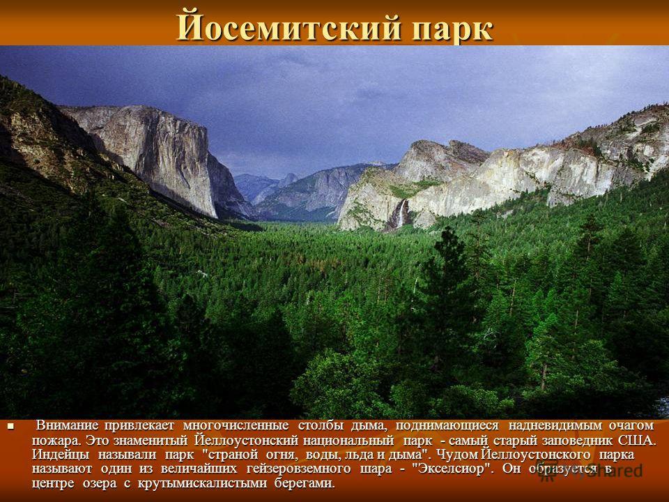 Йосемитский парк Внимание привлекает многочисленные столбы дыма, поднимающиеся надневидимым очагом пожара. Это знаменитый Йеллоустонский национальный парк - самый старый заповедник США. Индейцы называли парк