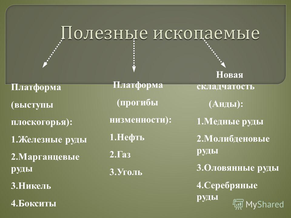 Платформа (выступы плоскогорья): 1.Железные руды 2.Марганцевые руды 3.Никель 4.Бокситы Платформа (прогибы низменности): 1.Нефть 2.Газ 3.Уголь Новая складчатость (Анды): 1.Медные руды 2.Молибденовые руды 3.Оловянные руды 4.Серебряные руды