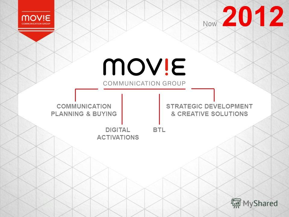 2012 STRATEGIC DEVELOPMENT & CREATIVE SOLUTIONS COMMUNICATION PLANNING & BUYING DIGITAL ACTIVATIONS BTL Now