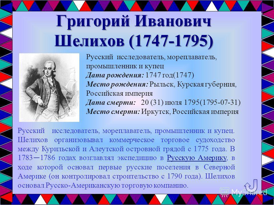 Григорий Иванович Шелихов (1747-1795) Русский исследователь, мореплаватель, промышленник и купец. Шелихов организовывал коммерческое торговое судоходство между Курильской и Алеутской островной грядой с 1775 года. В 1783 1786 годах возглавлял экспедиц