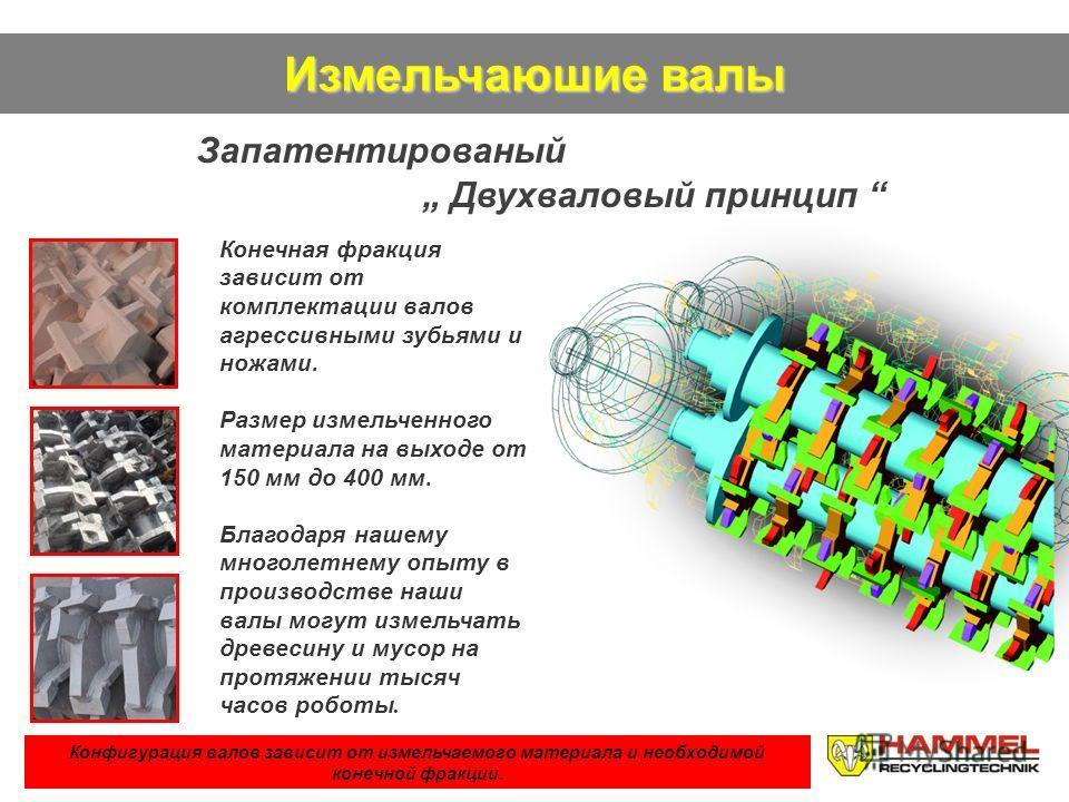 Измельчаюшие валы Запатентированый Двухваловый принцип Конфигурация валов зависит от измельчаемого материала и необходимой конечной фракцuu. Конечная фракция зависит от комплектации валов агрессивными зубьями и ножами. Размер измельченного материала