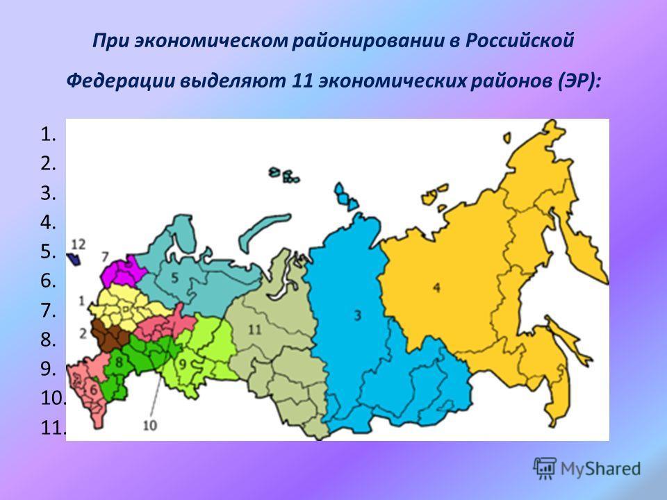 При экономическом районировании в Российской Федерации выделяют 11 экономических районов (ЭР): 1.ЦентральныйЦентральный 2.Центрально-ЧернозёмныйЦентрально-Чернозёмный 3.Восточно-СибирскийВосточно-Сибирский 4.ДальневосточныйДальневосточный 5.СеверныйС