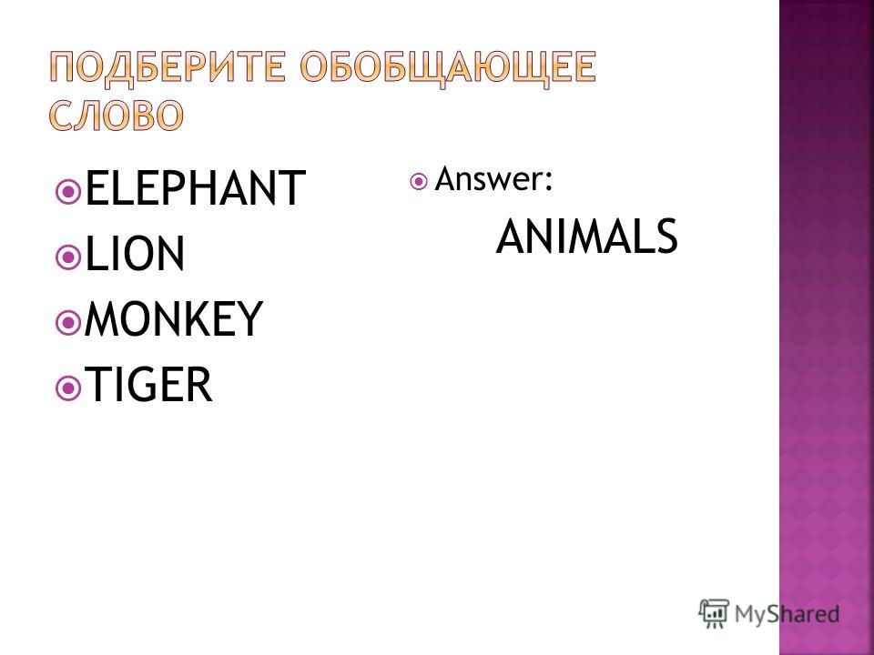 ELEPHANT LION MONKEY TIGER Answer: ANIMALS