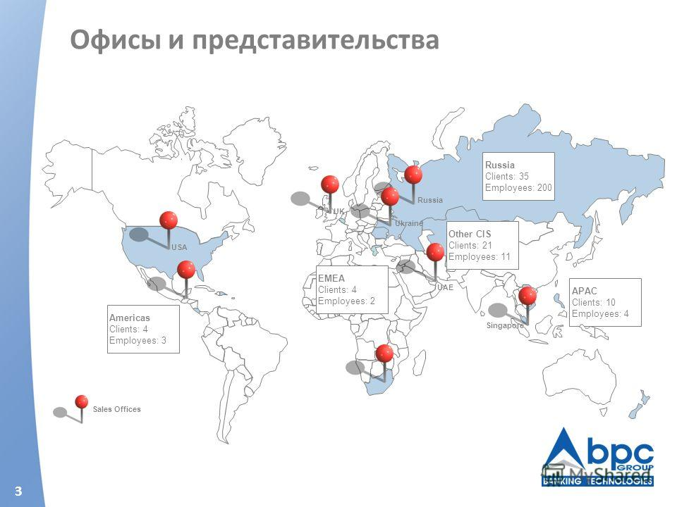 3 Офисы и представительства APAC Clients: 10 Employees: 4 Russia Clients: 35 Employees: 200 Americas Clients: 4 Employees: 3 Other CIS Clients: 21 Employees: 11 Russia UAE Singapore UK Sales Offices EMEA Clients: 4 Employees: 2 Ukraine USA