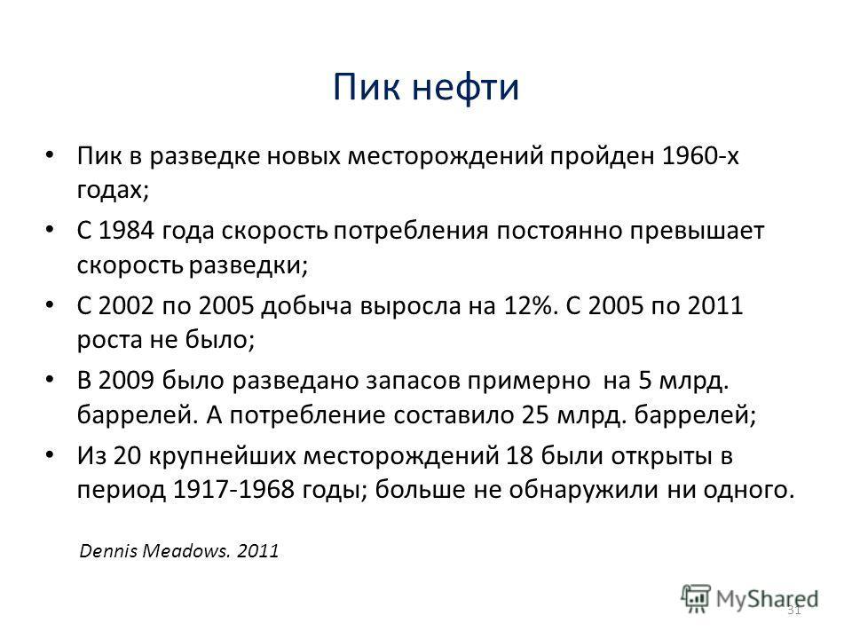 Пик нефти Пик в разведке новых месторождений пройден 1960-х годах; С 1984 года скорость потребления постоянно превышает скорость разведки; С 2002 по 2005 добыча выросла на 12%. С 2005 по 2011 роста не было; В 2009 было разведано запасов примерно на 5