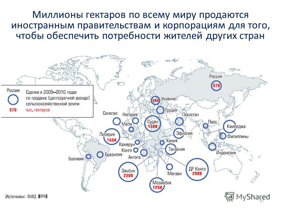 67 Миллионы гектаров по всему миру продаются иностранным правительствам и корпорациям для того, чтобы обеспечить потребности жителей других стран