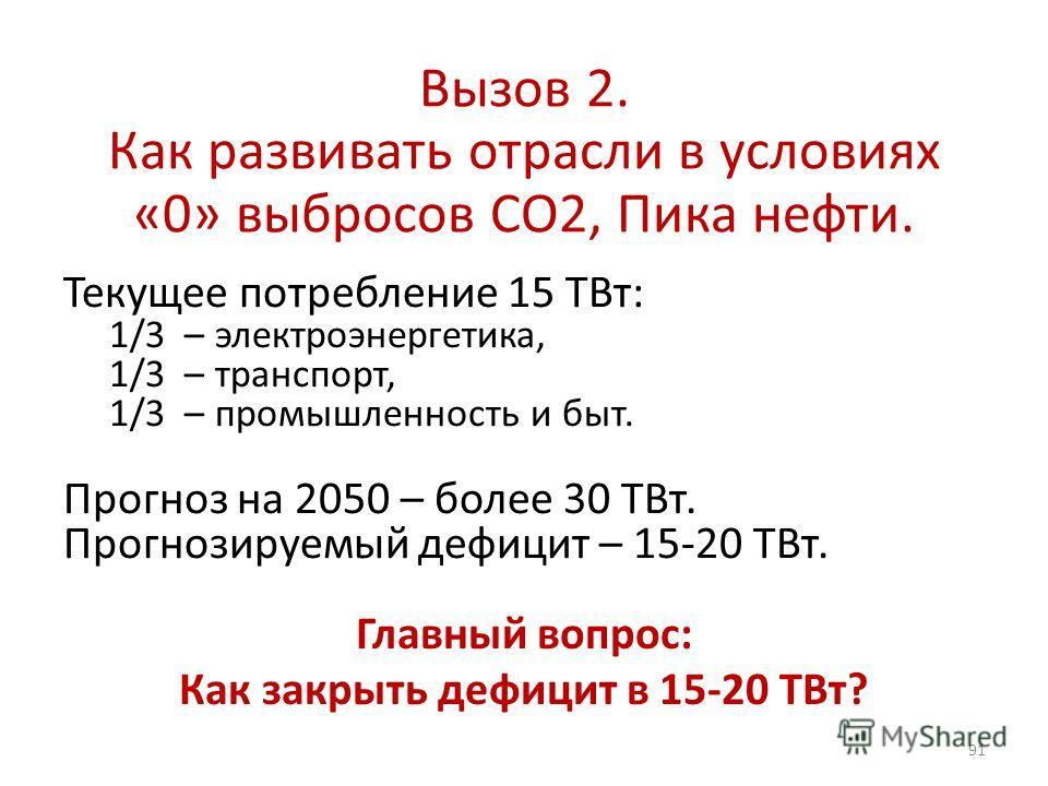 Вызов 2. Как развивать отрасли в условиях «0» выбросов СО2, Пика нефти. Текущее потребление 15 ТВт: 1/3 – электроэнергетика, 1/3 – транспорт, 1/3 – промышленность и быт. Прогноз на 2050 – более 30 ТВт. Прогнозируемый дефицит – 15-20 ТВт. 91 Главный в