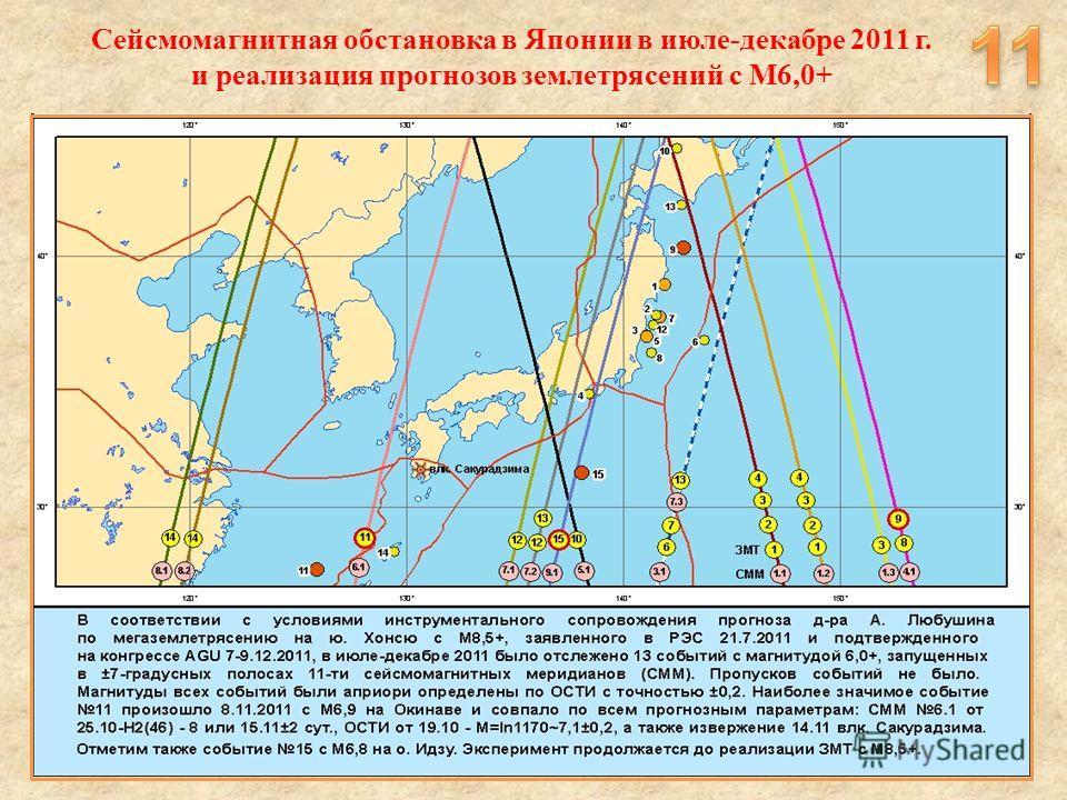 Сейсмомагнитная обстановка в Японии в июле-декабре 2011 г. и реализация прогнозов землетрясений с М6,0+